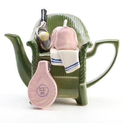 Richard Parrington Designs Wimbledon Tennis Novelty Chair Teapot, Late 20th C.