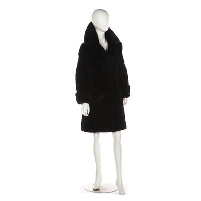 Bob Mackie Black Sheared Muskrat Fur Coat with Turned Back Cuffs