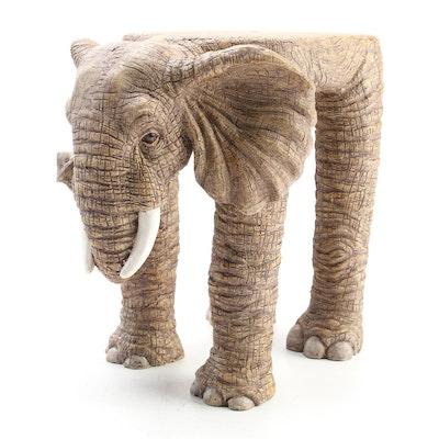 Painted Resin Elephant Footstool