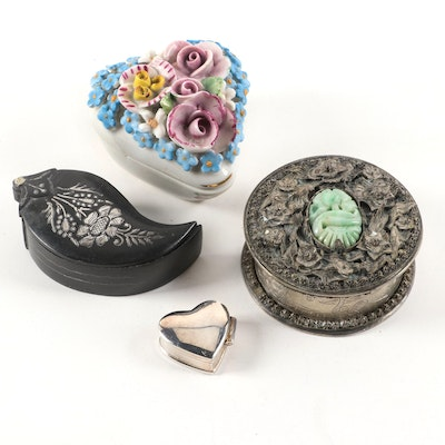 Elfinware Porcelain Heart Box with Sterling Silver and Other Boxes, 20th C.
