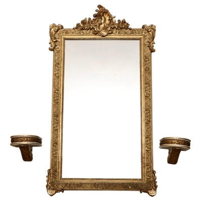Rococo Revival Style Carved Giltwood and Gesso Entry Mirror with Corbel Shelves