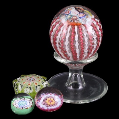 Zanfirico Glass Pedestal Paperweight and Other Cane Millefiori Paperweights