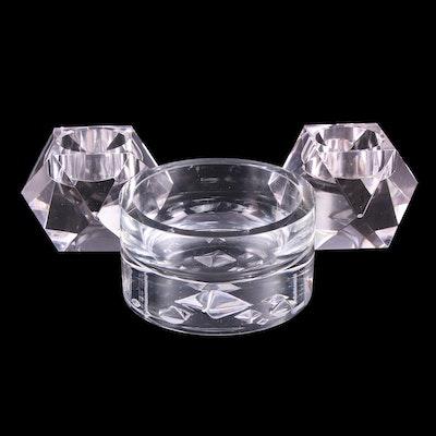 Tapio Wirkkala Pyramid Bowl and Rosenthal Crystal Votive Candle Holders