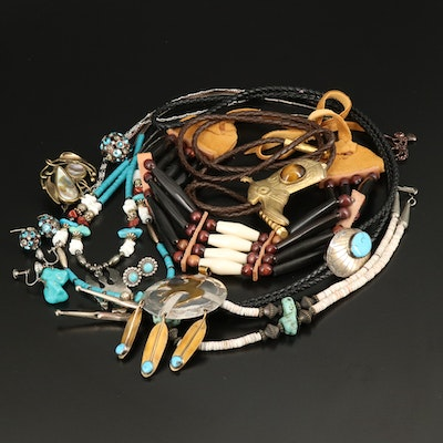Western Themed Jewelry Including Sterling, Turquoise and Abalone