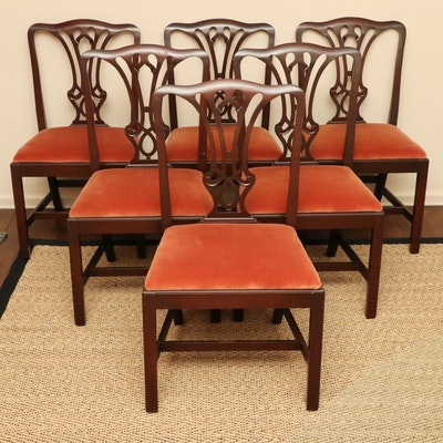 Set of Six Chippendale Style Mahogany Dining Chairs, Early to Mid 20th Century