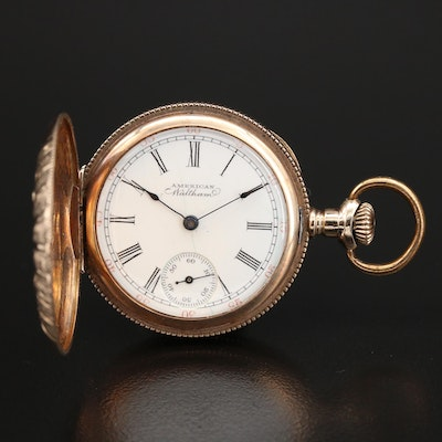1900 Waltham 14K Diamond Hunting Case Pocket Watch with Rose and Green Gold