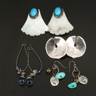 Earrings Including Shell, Magnesite and Glass