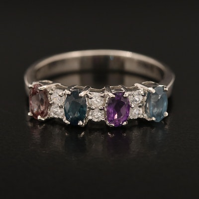Sterling Ring Including Sapphire, Color Changing Garnet and Zircon