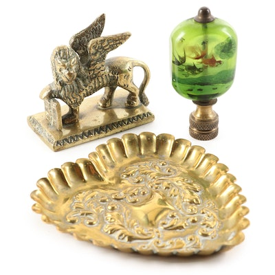 Venetian Brass Winged Lion, Repoussé Pin Dish, with Reverse Painted Glass Finial