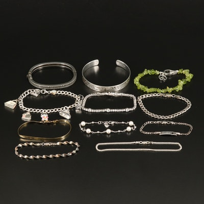Sterling Bracelet Grouping Including Judith Jack, Peridot and Marcasite