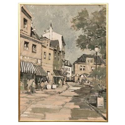 Otto Bauer-Nilsen Mixed Media Painting of Street Scene