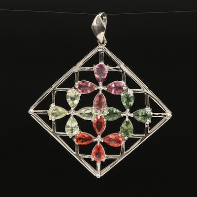 Sterling Flower Lattice Pendant with Sapphire, Tourmaline and Apatite