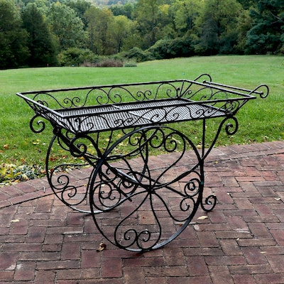 Patio Wire Mesh Serving Trolley
