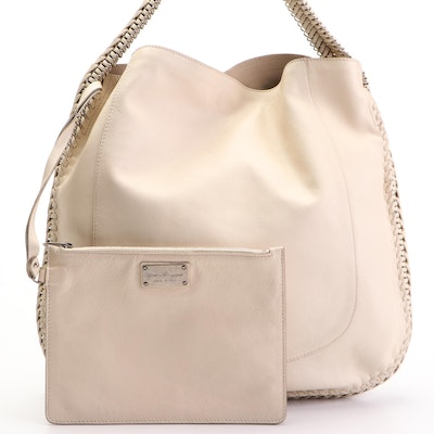 Fendi Hobo Bag in Leather with Whipstitch Trim and Handle