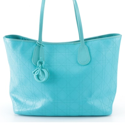 Dior Panarea Cannage Canvas and Leather Tote