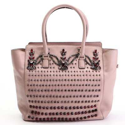 Valentino B Diamond Convertible Tote Bag in Crystal Embellished Blush Leather