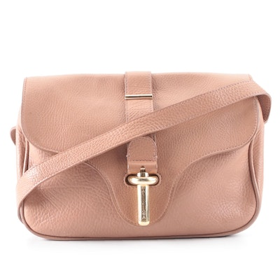 Balenciaga Tube Front Flap Crossbody in Blush Brown Grained Leather