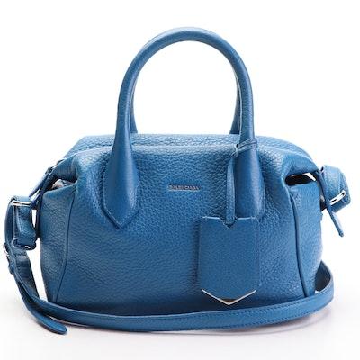 Balenciaga Infanta Mini Two-Way Boston Bag in Blue Grained Leather