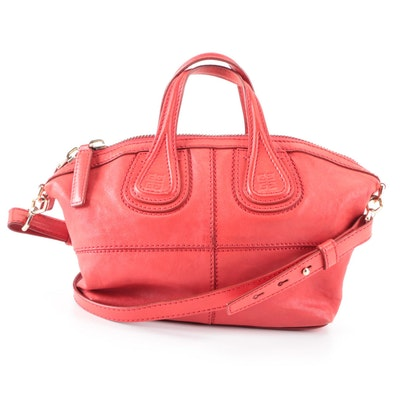 Givenchy Nightingale Red Leather Convertible Handbag