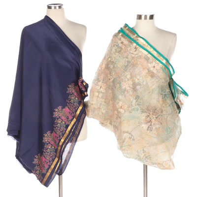 Semi-Sheer Floral Beaded and Elephant Motif Embroidered Dupatta Sarees