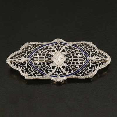 Edwardian 14K 0.02 CT Diamond and Enamel Brooch with Platinum Accents