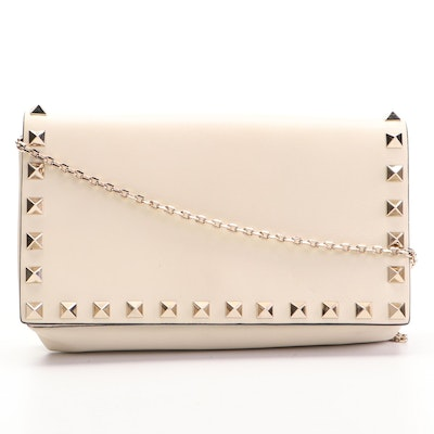 Valentino Rockstud Mini Flap Front Crossbody Bag in Ivory Leather