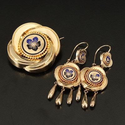 Victorian Revival 14K Seed Pearl and Enamel Brooch with Girandole Earrings