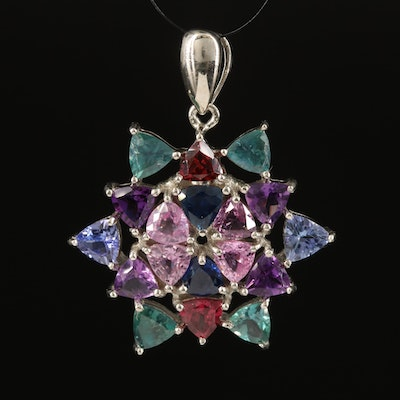 Sterling Cluster Pendant with Pink Sapphire, Amethyst and Garnet