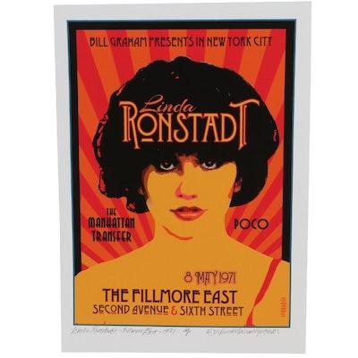 """David Edward Bird Giclée """"Linda Ronstadt Fillmore East 1971,"""" 2021"""