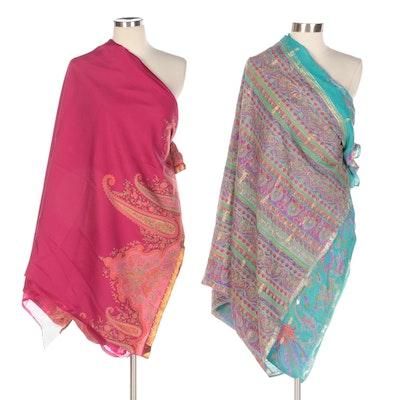 Magenta and Turquoise Blue Floral Beaded and Embroidered Dupatta Sarees