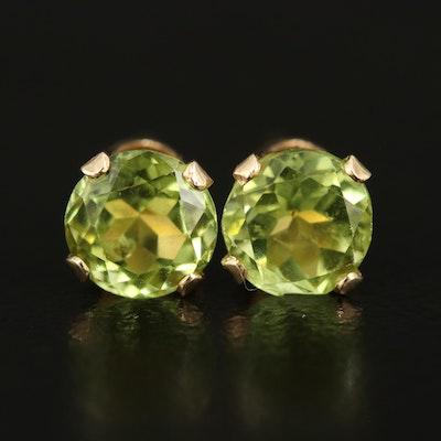 14K Peridot Stud Earrings