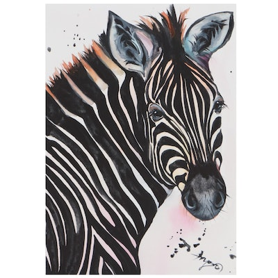 """Anne """"Angor"""" Gorywine Watercolor Painting of Zebra, 2021"""