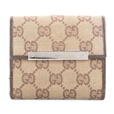 Gucci Compact Wallet in Tan GG Canvas and Dark Brown Leather