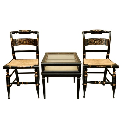 Pair of L. Hitchcock Side Chairs and Louis XVI Style Ebonized Wood Vitrine Table