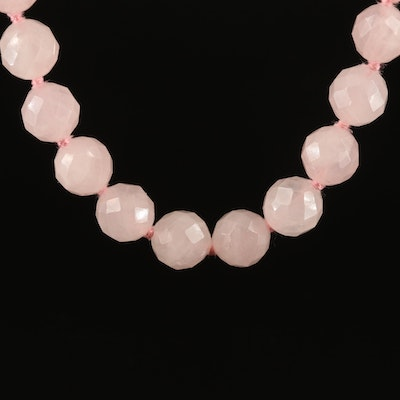 Rose Quartz Necklace with Sterling Clasp