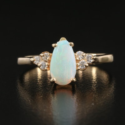 14K Opal Ring with Diamond Shoulders