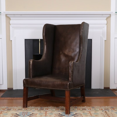 George III Style Oak and Brown Leather Wingback Armchair, Early 20th Century