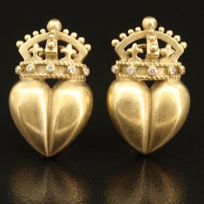 """Barry Kieselstein-Cord """"Royal Heart"""" 18K 0.07 CTW Diamond Earrings"""