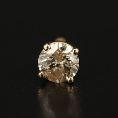 14K 0.50 CT Brown Diamond Single Stud Earring