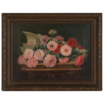 Floral Still Life Oil Painting, 1921