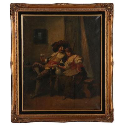 Figural Genre Scene Oil Painting, 19th Century