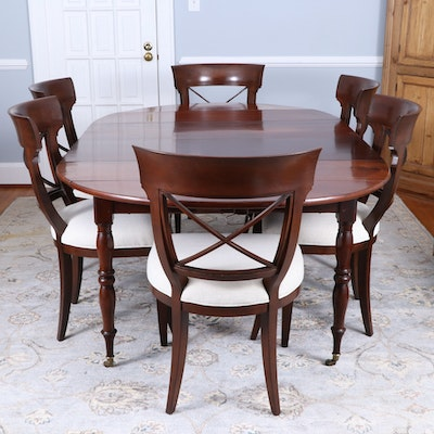 Restauration Mahogany Extending Dining Table, c. 1830 with Vanguard Chairs