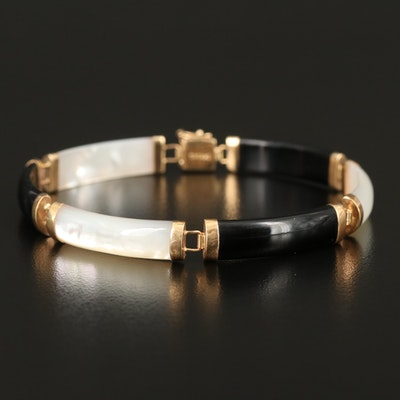 14K Black Onyx and Mother of Pearl Curved Bar Bracelet