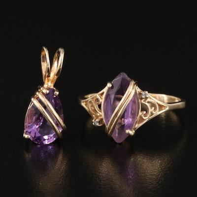 14K Amethyst and Diamond Ring with 14K Amethyst Pendant