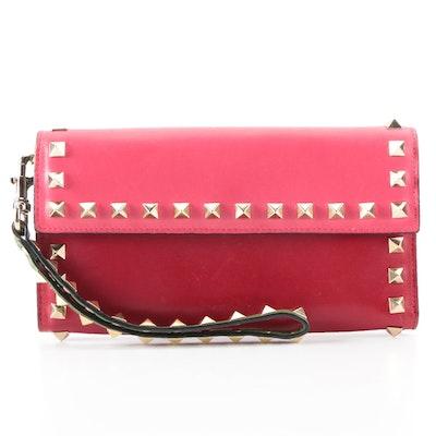 Valentino Rockstud Wristlet Wallet in Color Block Leather
