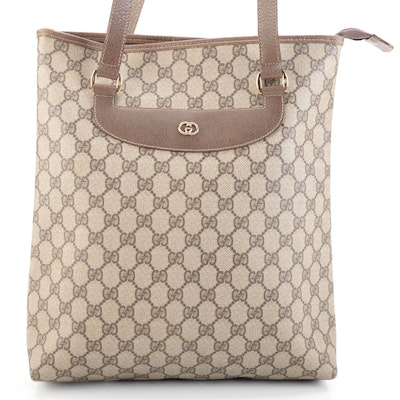 Gucci Shoulder Tote in Tan GG Supreme Canvas and Brown Leather