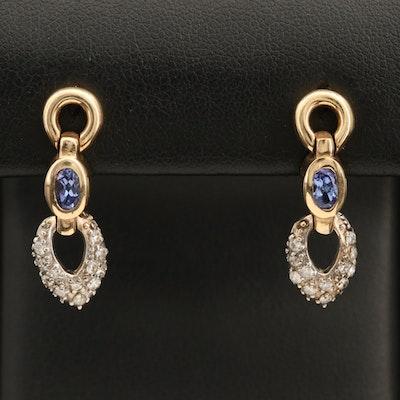 14K Tanzanite and Diamond Drop Earrings