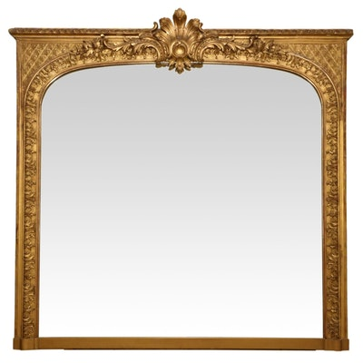 Continental Style Carved Giltwood Mantel Mirror, Late 19th Century
