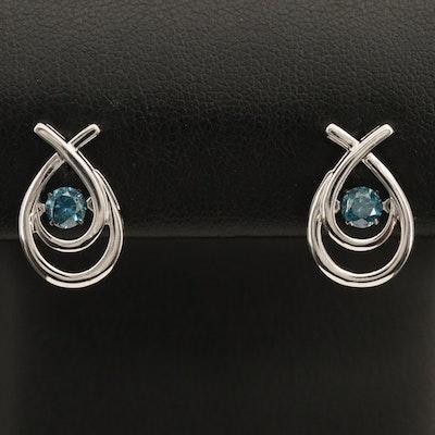 14K 0.50 CTW Diamond Teardrop Earrings with Floating Center