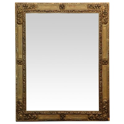 Gesso and Giltwood Rectangular Wall Mirror, Antique